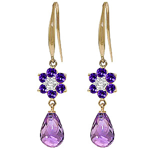 Amethyst and Diamond Daisy Chain Drop Earrings 5.45ctw in 9ct Gold