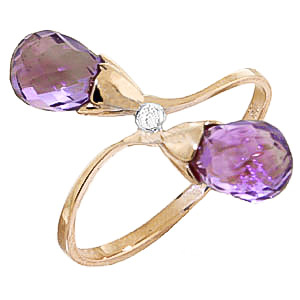 Amethyst and Diamond Duo Ring 2.5ctw in 9ct Gold