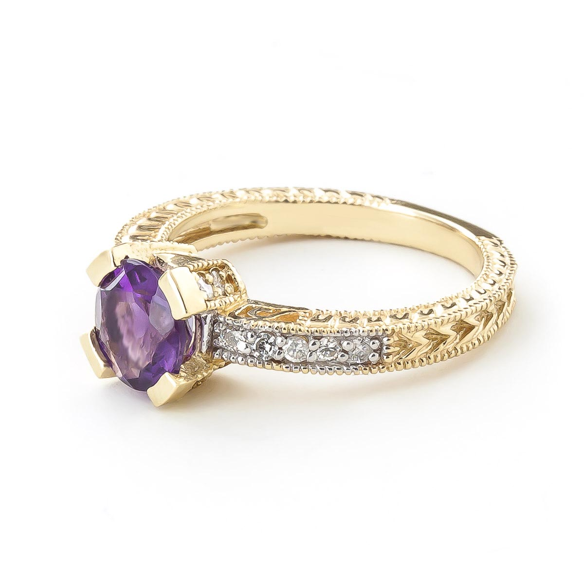 Amethyst and Diamond Renaissance Ring 1.5ct in 9ct Gold