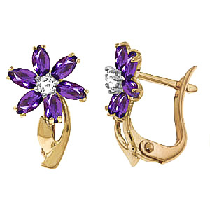 Amethyst and Diamond Flower Petal Drop Earrings 1.0ctw in 9ct Gold
