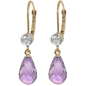 Amethyst and Diamond Illusion Drop Earrings 4.5ctw in 9ct Gold