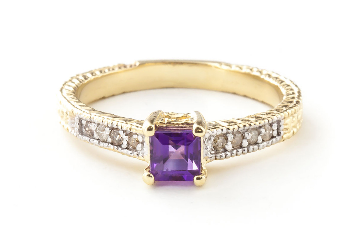 Amethyst and Diamond Shoulder Set Ring 0.5ct in 9ct Gold