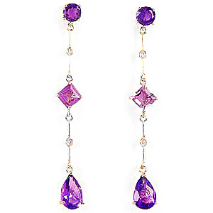 Amethyst and Diamond Palermo Drop Earrings 6.0ctw in 9ct Gold