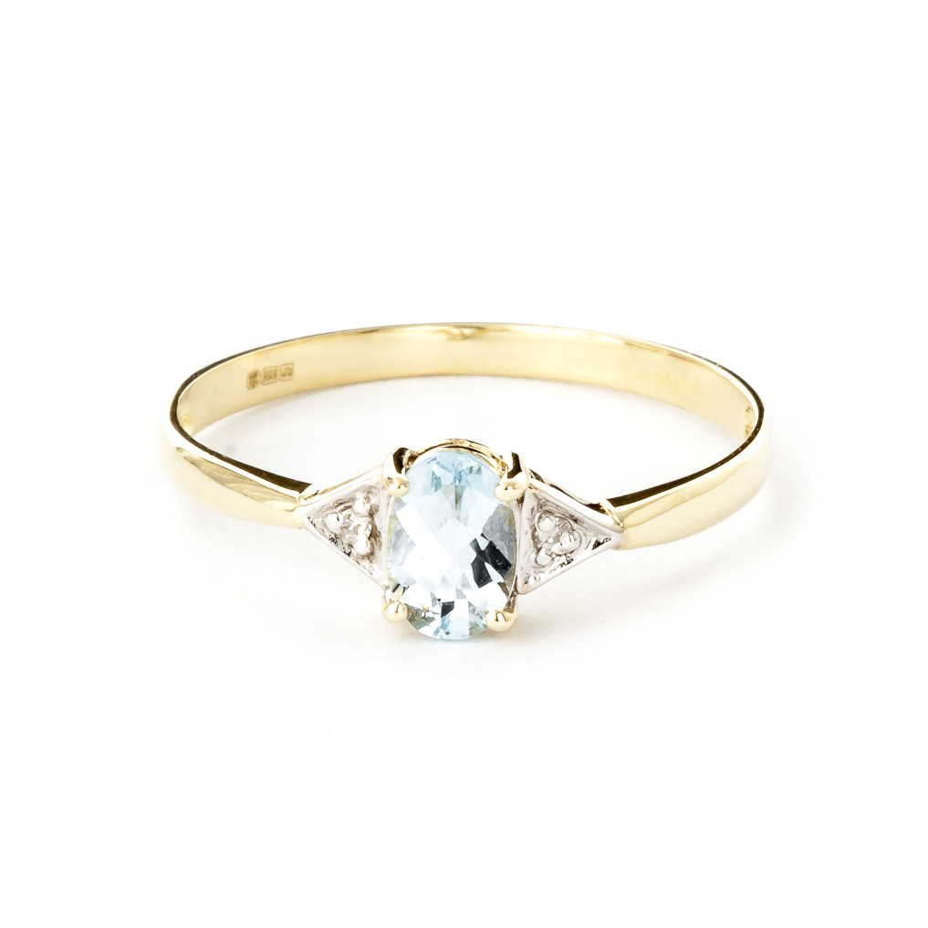 Aquamarine and Diamond Allure Ring 0.45ct in 9ct Gold