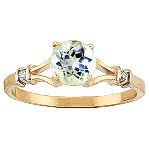 Aquamarine and Diamond Aspire Ring 1.0ct in 9ct Gold