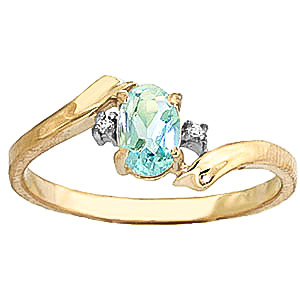 Aquamarine and Diamond Embrace Ring 0.45ct in 9ct Gold