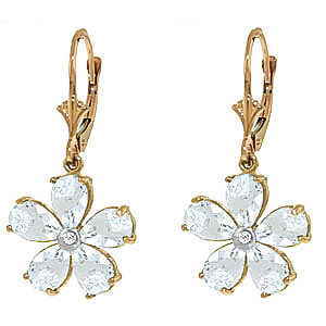 Aquamarine and Diamond Flower Petal Drop Earrings 4.4ctw in 9ct Gold
