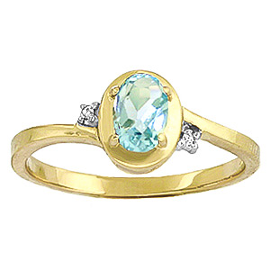 Aquamarine and Diamond Meridian Ring 0.5ct in 9ct Gold