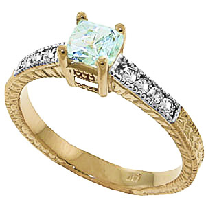 Aquamarine and Diamond Shoulder Set Ring 0.5ct in 9ct Gold