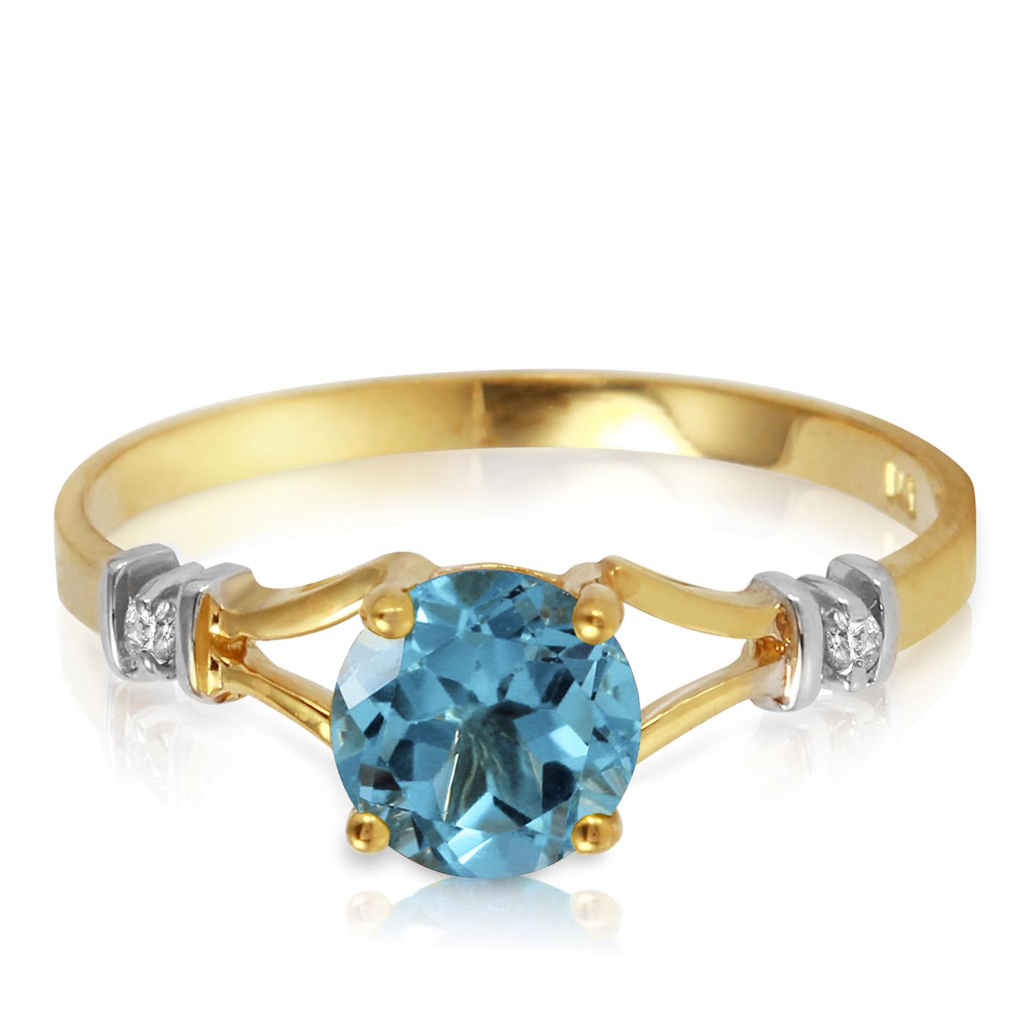 Blue Topaz and Diamond Aspire Ring 1.0ct in 9ct Gold