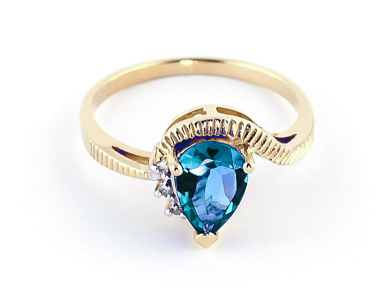 Blue Topaz and Diamond Belle Ring 1.5ct in 9ct Gold