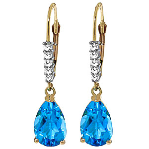 Blue Topaz and Diamond Belle Drop Earrings 3.0ctw in 9ct Gold