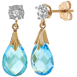 Blue Topaz and Diamond Comet Stud Earrings 6.0ctw in 9ct Gold