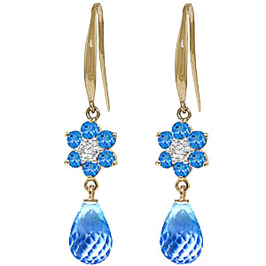 Blue Topaz and Diamond Daisy Chain Drop Earrings 5.45ctw in 9ct Gold
