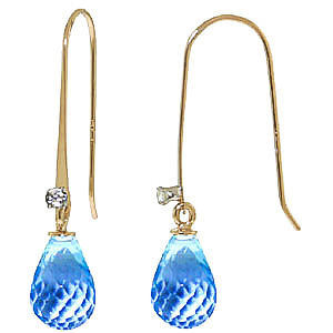 Blue Topaz and Diamond Drop Earrings 1.35ctw in 9ct Gold