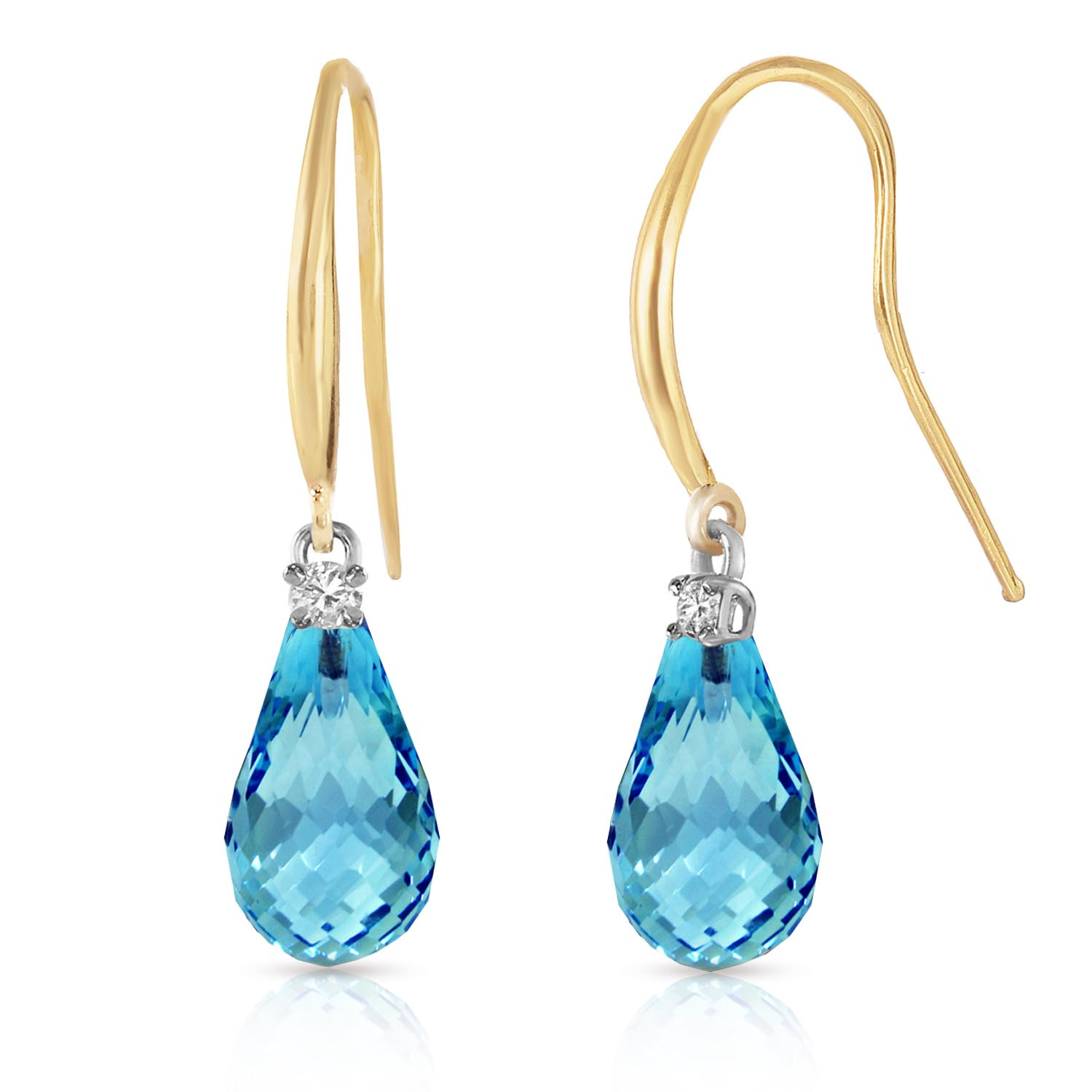 Blue Topaz and Diamond Drop Earrings 4.5ctw in 9ct Gold