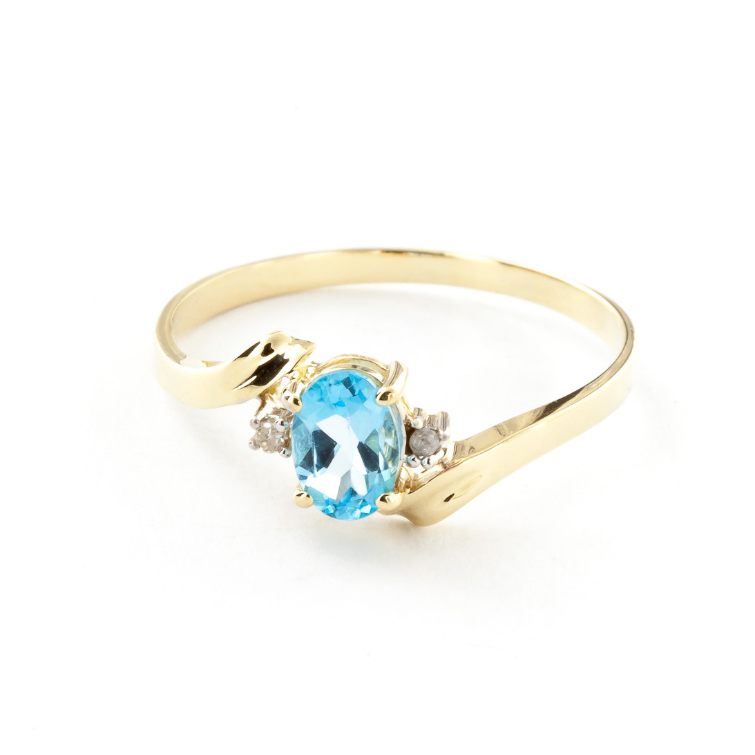 Blue Topaz and Diamond Embrace Ring 0.45ct in 9ct Gold