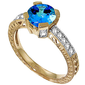 Blue Topaz and Diamond Renaissance Ring 1.5ct in 9ct Gold