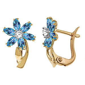 Blue Topaz and Diamond Flower Petal Stud Earrings 1.0ctw in 9ct Gold