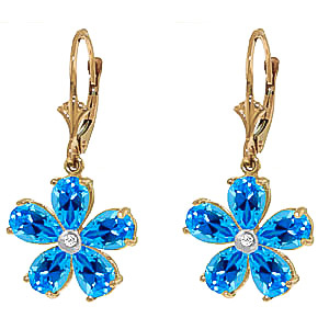 Blue Topaz and Diamond Flower Petal Drop Earrings 4.4ctw in 9ct Gold