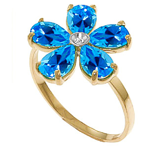 Blue Topaz and Diamond Five Petal Ring 2.2ctw in 9ct Gold