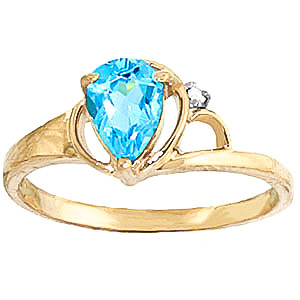 Blue Topaz and Diamond Ring 0.65ct in 9ct Gold
