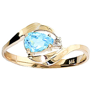 Blue Topaz and Diamond Ring 0.5ct in 9ct Gold