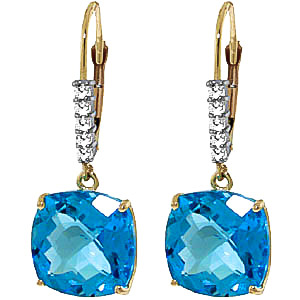 Blue Topaz and Diamond Rococo Drop Earrings 7.2ctw in 9ct Gold