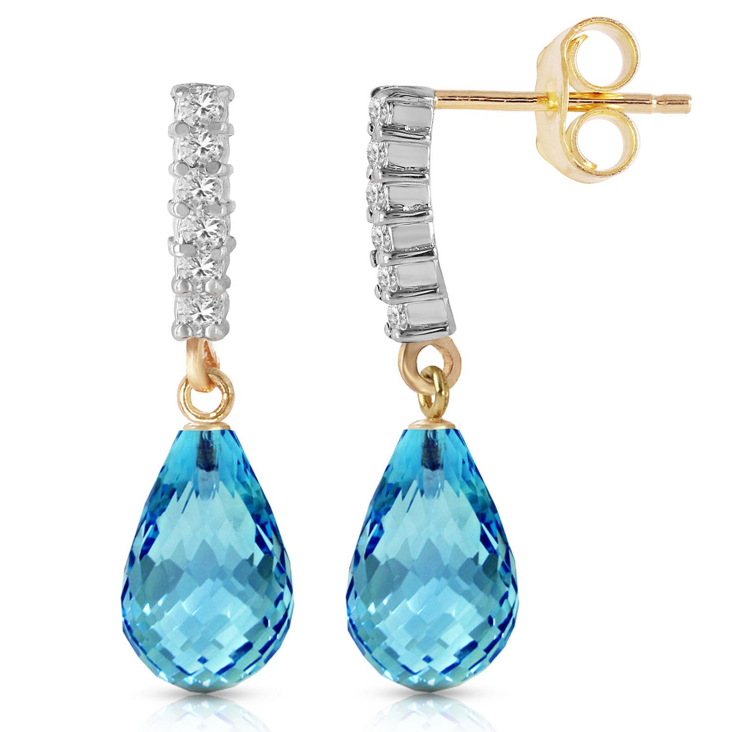 Blue Topaz and Diamond Stem Droplet Earrings 4.5ctw in 9ct Gold