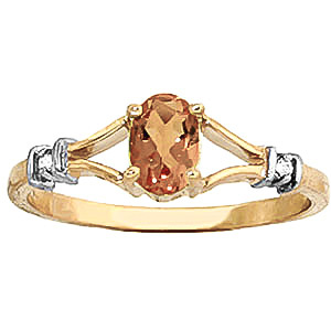 Citrine and Diamond Aspire Ring 0.45ct in 9ct Gold
