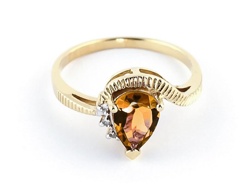 Citrine and Diamond Belle Ring 1.5ct in 9ct Gold