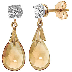 Citrine and Diamond Comet Stud Earrings 6.0ctw in 9ct Gold