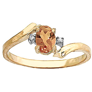 Citrine and Diamond Embrace Ring 0.45ct in 9ct Gold