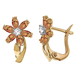 Citrine and Diamond Flower Petal Stud Earrings 1.0ctw in 9ct Gold