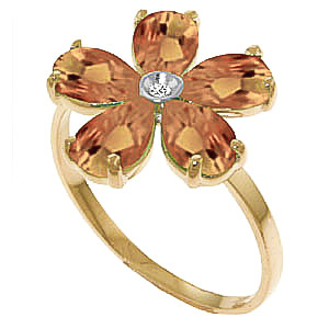 Citrine and Diamond Five Petal Ring 2.2ctw in 9ct Gold