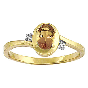 Citrine and Diamond Meridian Ring 0.5ct in 9ct Gold