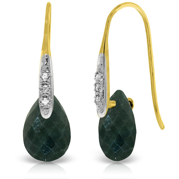 Emerald and Diamond Drop Earrings 8.0ctw in 9ct Gold