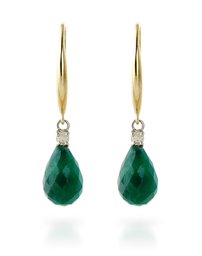 Emerald and Diamond Drop Earrings 6.6ctw in 9ct Gold