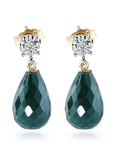 Emerald and Diamond Illusion Stud Earrings 17.6ctw in 9ct Gold