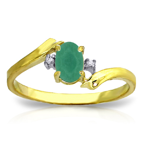 Women's Jewellery Emerald and Diamond Ring 0.5ct in 9ct Gold