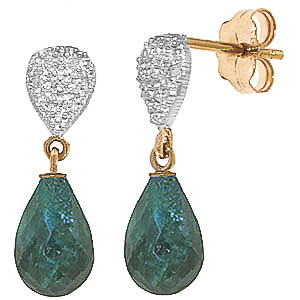 Emerald and Diamond Droplet Earrings 6.6ctw in 9ct Gold
