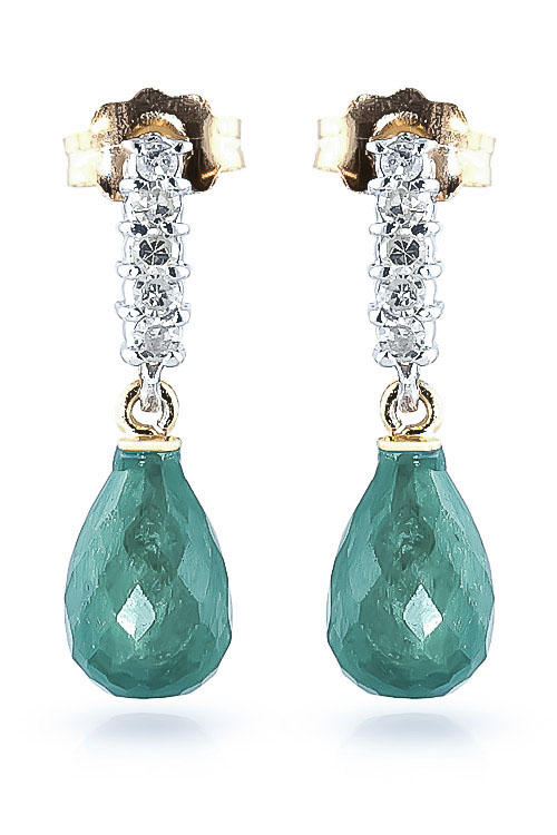 Emerald and Diamond Stem Droplet Earrings 6.6ctw in 9ct Gold
