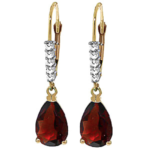 Garnet and Diamond Belle Drop Earrings 3.0ctw in 9ct Gold