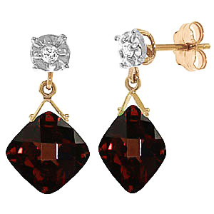 Garnet and Diamond Deflection Stud Earrings 17.5ctw in 9ct Gold