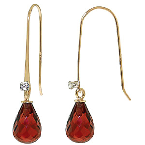 Garnet and Diamond Drop Earrings 1.35ctw in 9ct Gold