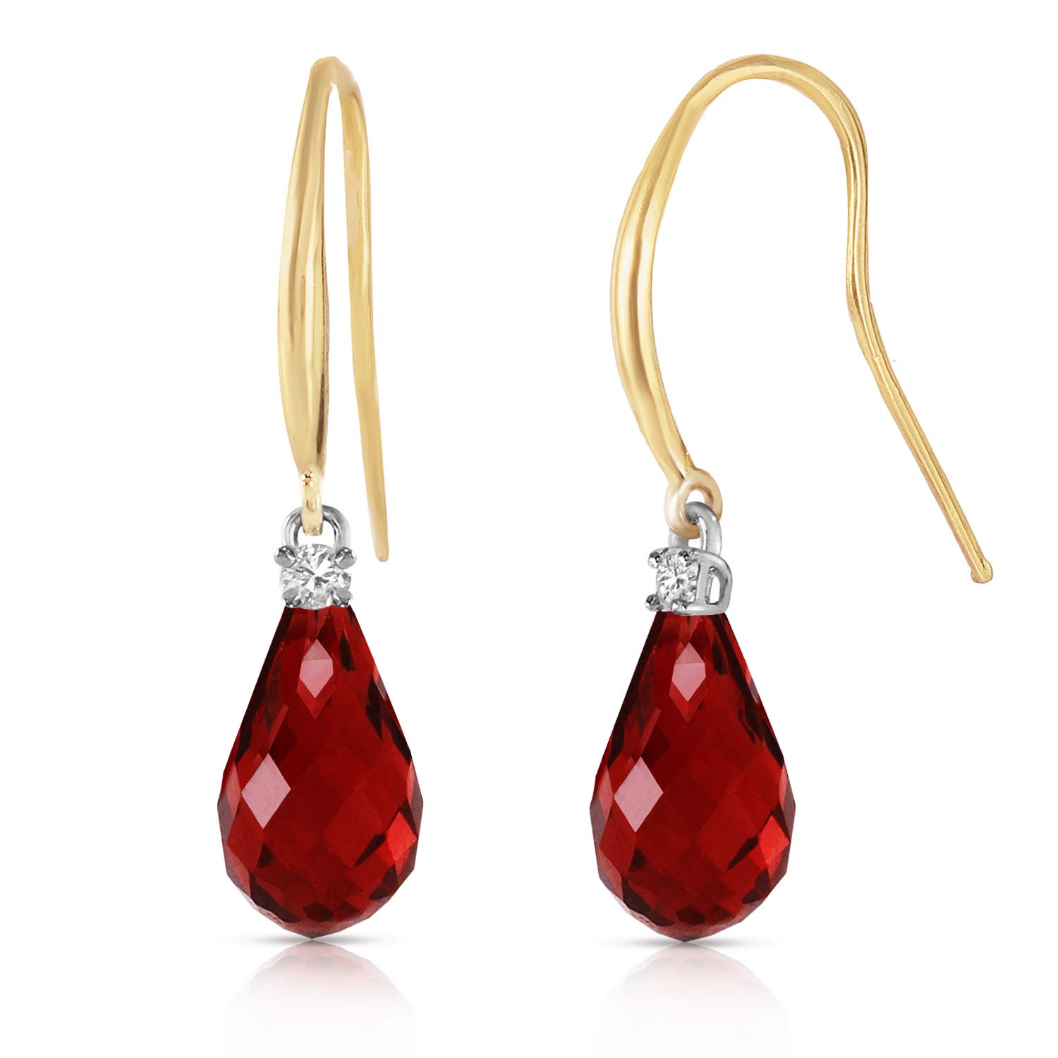 Garnet and Diamond Drop Earrings 4.5ctw in 9ct Gold