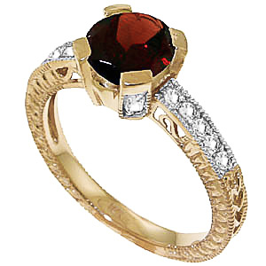 Garnet and Diamond Renaissance Ring 1.5ct in 9ct Gold