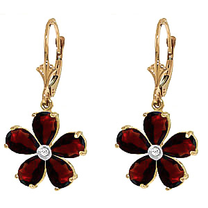 Garnet and Diamond Flower Petal Drop Earrings 4.4ctw in 9ct Gold