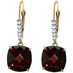 Garnet and Diamond Rococo Drop Earrings 9.0ctw in 9ct Gold