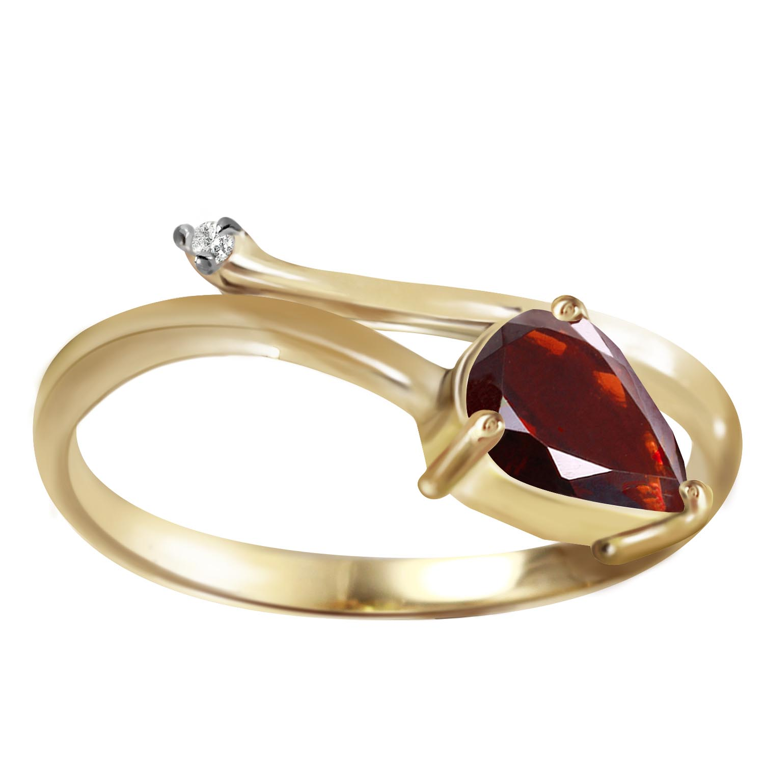 Garnet and Diamond Ring 0.82ct in 9ct Gold